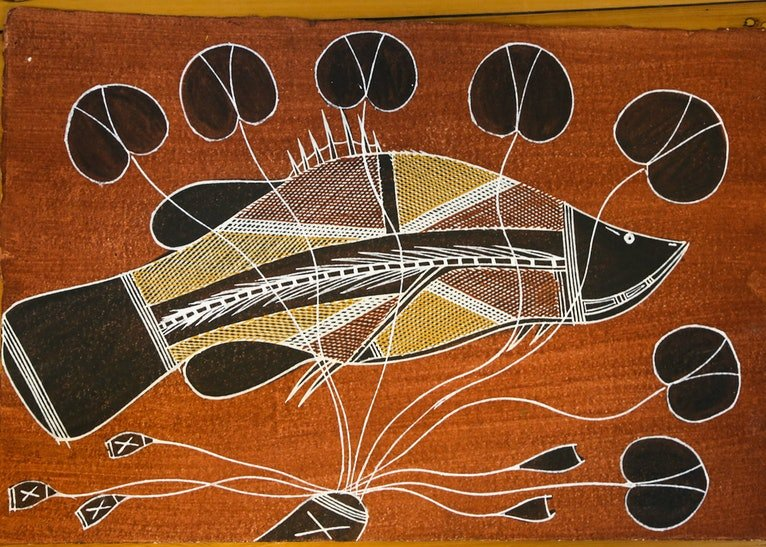 (CreativeWork) Namarnkol (Barramundi) 1014-16 by Christina Djorlom. Acrylic Paint. Shop online at Bluethumb.