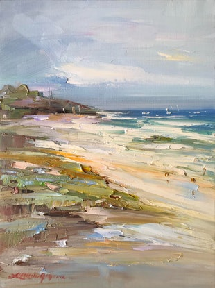 (CreativeWork) Seascape study No 8 by Liliana Gigovic. Oil Paint. Shop online at Bluethumb.