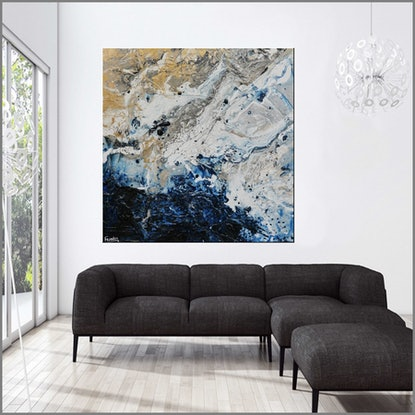 (CreativeWork) Starburst Now! 150cm x 150cm  Blue cream white gold Texture Acrylic Gloss Finish Abstract Franko  by _Franko _. Acrylic Paint. Shop online at Bluethumb.