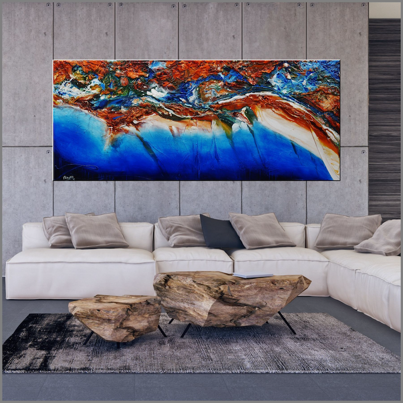 (CreativeWork) Blue Velvet Coast 240cm x 100cm  Blue Orange Texture Acrylic Gloss Finish Abstract Franko  by _Franko _. Acrylic Paint. Shop online at Bluethumb.