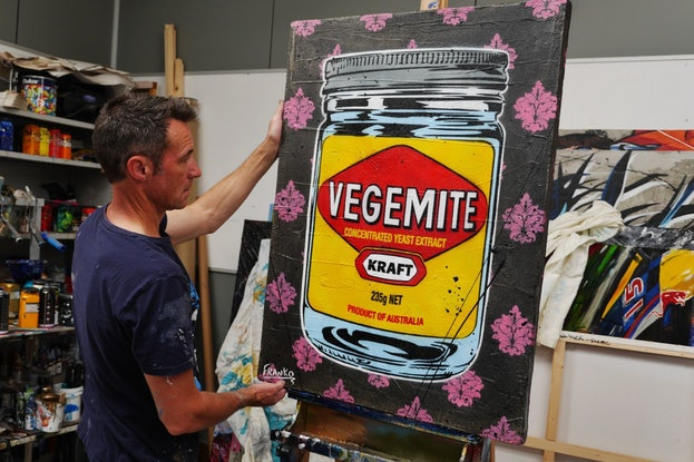 (CreativeWork) Charcoal Vegemite 75cm x 100cm Vegemite Industrial Concrete! Urban Pop art FRANKO  by _Franko _. Mixed Media. Shop online at Bluethumb.