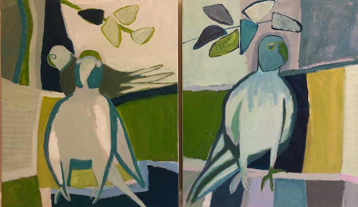 (CreativeWork) Birds amongst Green by Margo Carlon. Acrylic Paint. Shop online at Bluethumb.