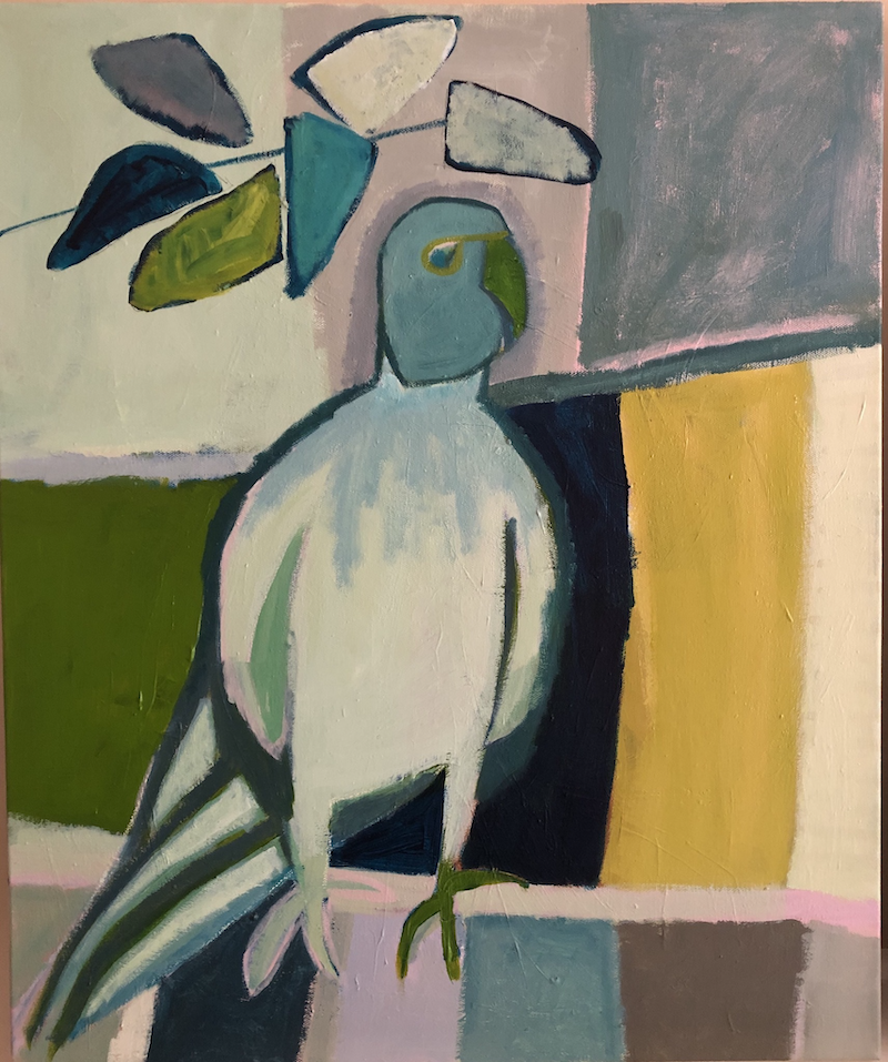 (CreativeWork) Blue Parrot and Lime by Margo Carlon. Acrylic Paint. Shop online at Bluethumb.
