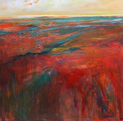 (CreativeWork) Boulia Sunrise by Tania Chanter. Acrylic Paint. Shop online at Bluethumb.