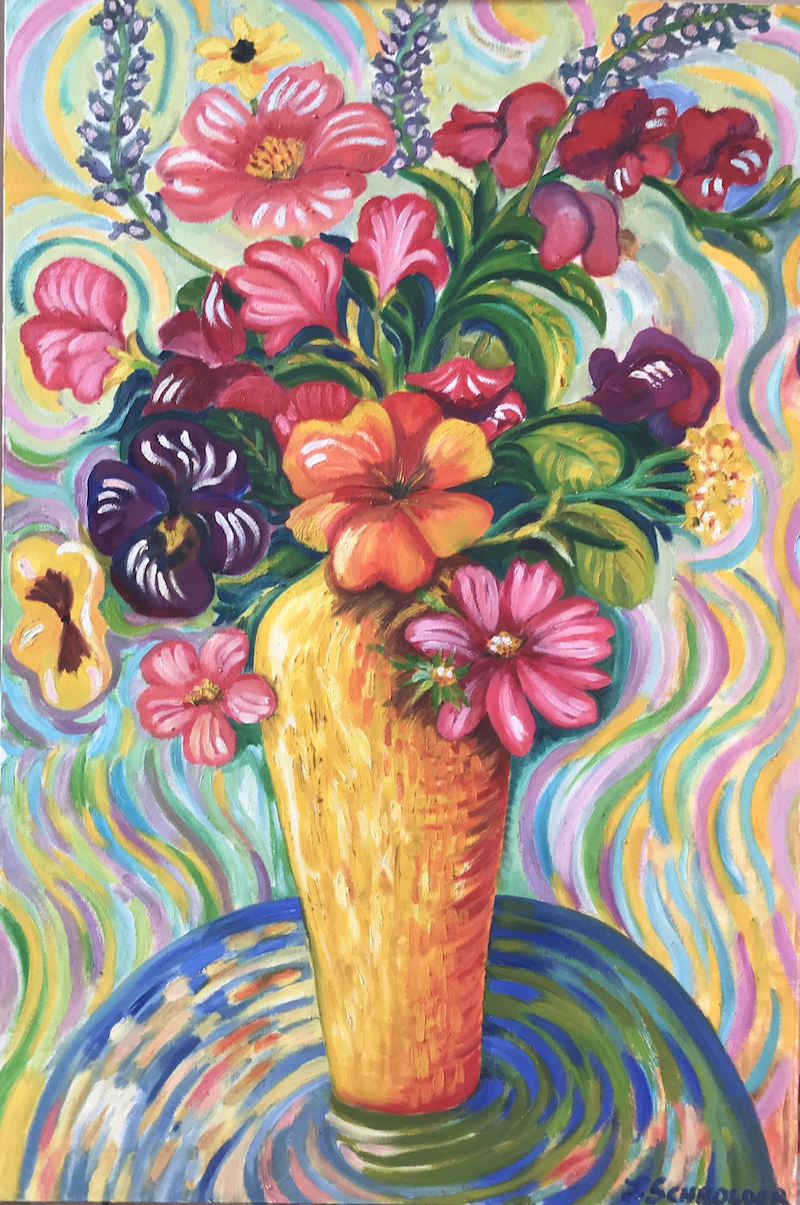 (CreativeWork) Funky Flowers by Jen Schroeder. Oil Paint. Shop online at Bluethumb.