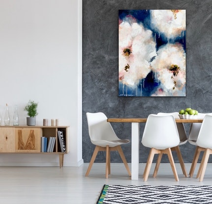 (CreativeWork) Blueberry & Peach Gelato by Lisa Wisse-Robinson. Mixed Media. Shop online at Bluethumb.