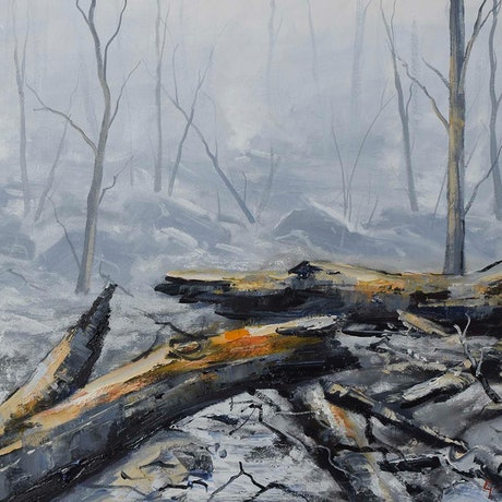 (CreativeWork) Bushfire devastation by Graham Gercken. Oil Paint. Shop online at Bluethumb.