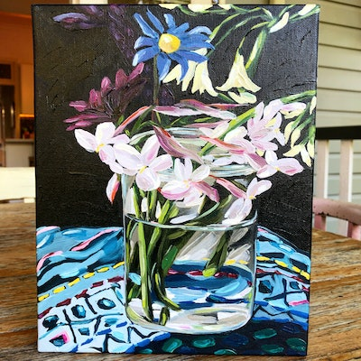 (CreativeWork) Small study of Waiheke flowers  by Kate Quinn. #<Filter:0x00007fc18b6e5538>. Shop online at Bluethumb.
