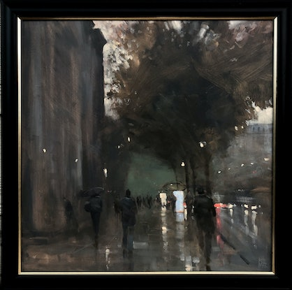 (CreativeWork) KIng William Road Rain - Rainy cityscape by Mike Barr. Oil Paint. Shop online at Bluethumb.