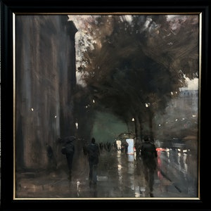 (CreativeWork) KIng William Road Rain - Rainy cityscape by Mike Barr. #<Filter:0x00007f1f77bb1258>. Shop online at Bluethumb.