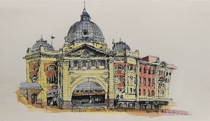 (CreativeWork) Flinders  Station by jianqiang xu. Watercolour Paint. Shop online at Bluethumb.