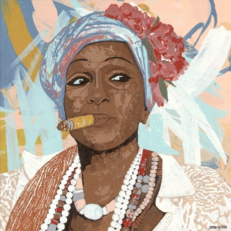 (CreativeWork)  'The Cigar Lady' by Jessie Feitosa. Acrylic Paint. Shop online at Bluethumb.