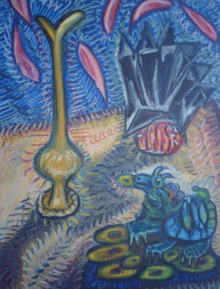 (CreativeWork) STILL LIFE WITH DRAGON 2. by Paula Reilly. Oil Paint. Shop online at Bluethumb.