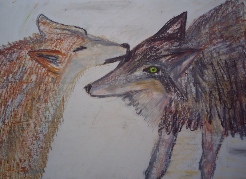 (CreativeWork) WOLF FRIENDS. by Paula Reilly. Drawings. Shop online at Bluethumb.