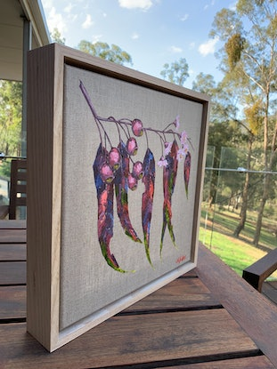 (CreativeWork) Little Splendour - Framed gum leaf painting on linen by Eve Sellars. Oil Paint. Shop online at Bluethumb.