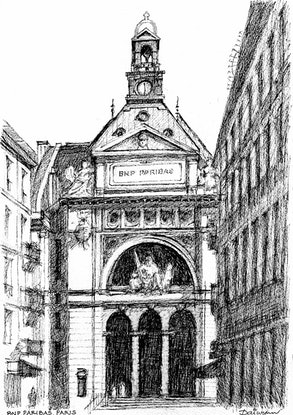 (CreativeWork) Paris Heritage Bank Architecture by Dai Wynn. Drawings. Shop online at Bluethumb.