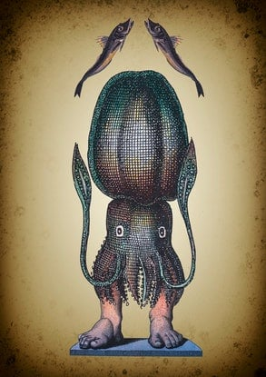 (CreativeWork) Squid Eating Man. Edition 1/10. by Sarah Mitchell. Mixed Media. Shop online at Bluethumb.