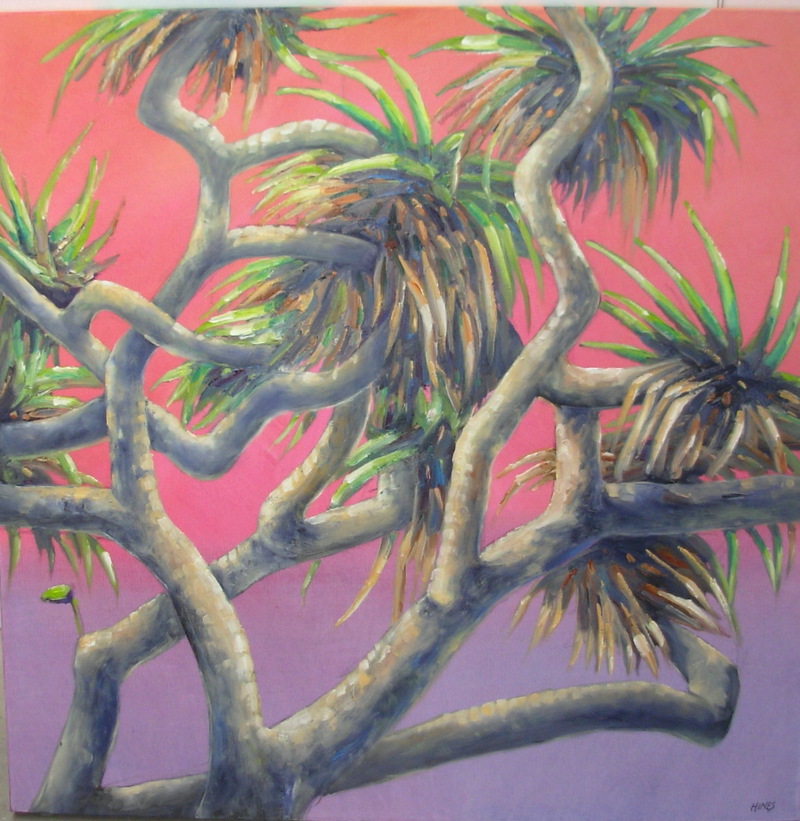 (CreativeWork) Pandanus Sunset by Robin Hines. Oil Paint. Shop online at Bluethumb.