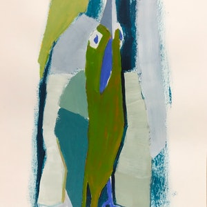 (CreativeWork) Bird with Green Feathers by Margo Carlon. Acrylic Paint. Shop online at Bluethumb.