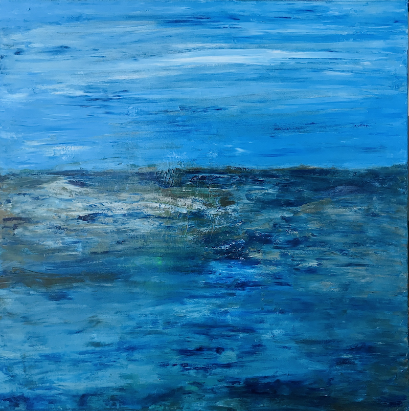 (CreativeWork) Seaside at dusk by Susanne Tester. Acrylic Paint. Shop online at Bluethumb.