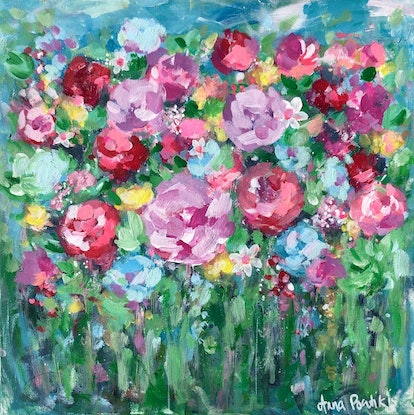 (CreativeWork) Field of Flowers by Anna Pontikis. Acrylic Paint. Shop online at Bluethumb.