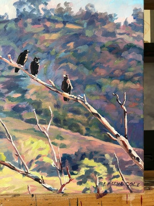 (CreativeWork) Three Crows by Leslye Cole. Oil Paint. Shop online at Bluethumb.