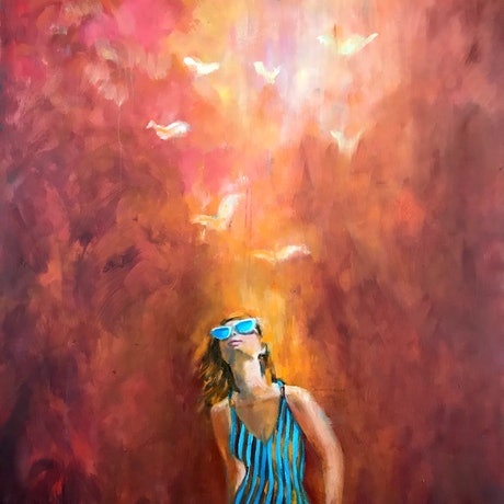 (CreativeWork) Girl On Fire by Sara Roberts. Oil Paint. Shop online at Bluethumb.