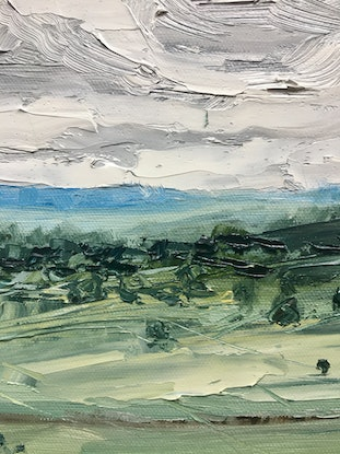 (CreativeWork) 'Just Breathe' - Byron Bay Hinterland  by Michelle Keighley. Oil Paint. Shop online at Bluethumb.