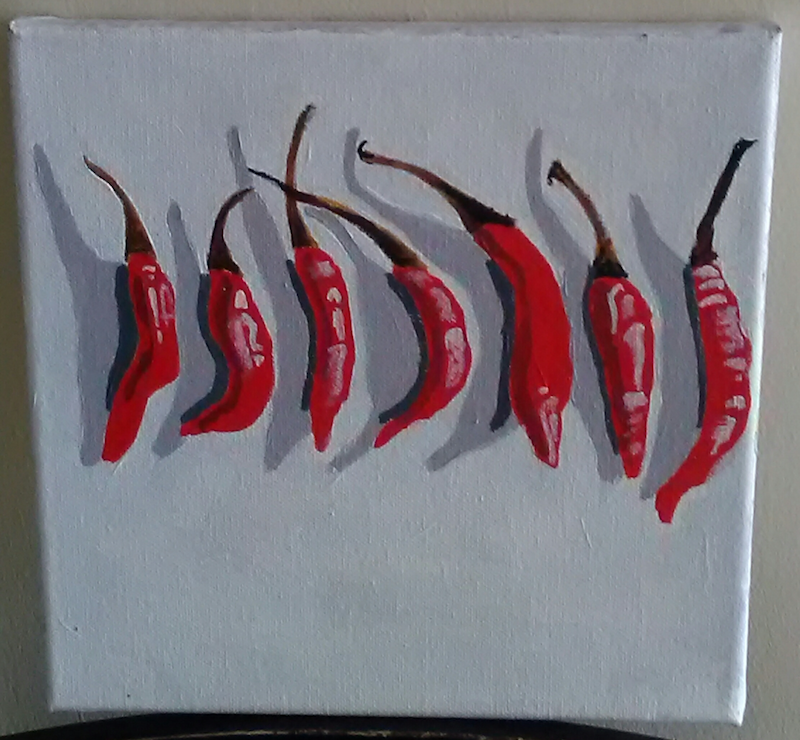 (CreativeWork) Red Hot Chilli Peppers by Mitch Ianni. Acrylic Paint. Shop online at Bluethumb.