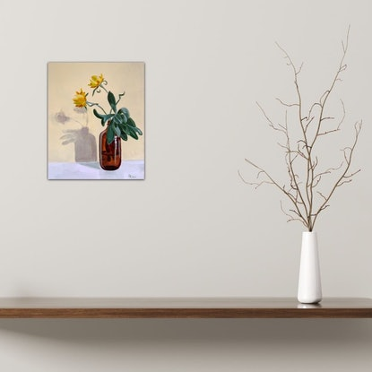 (CreativeWork) Succulent and Paper Daisies by Dominika Keller. Acrylic Paint. Shop online at Bluethumb.