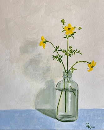 (CreativeWork) Delicate Yellow Blooms In Vanilla Essence Bottle by Dominika Keller. Acrylic Paint. Shop online at Bluethumb.