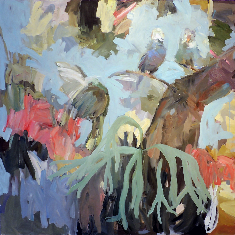 (CreativeWork) The Budgies by Ray Saunderson. Oil Paint. Shop online at Bluethumb.