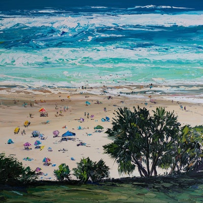 (CreativeWork) Beach Bums by Angela Hawkey. Oil Paint. Shop online at Bluethumb.
