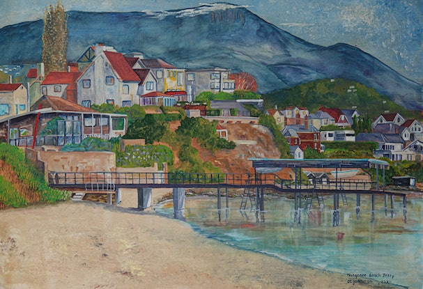 (CreativeWork) Nutgrove  Beach Jetty by Christopher Johnston. Acrylic Paint. Shop online at Bluethumb.
