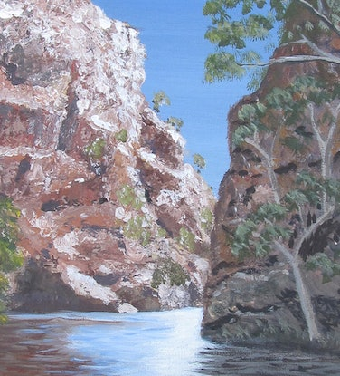 (CreativeWork) Big Ellery Waterhole by Marilyn Murray. Acrylic Paint. Shop online at Bluethumb.