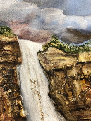 (CreativeWork) Storm Over The Escarpment by Veronica Hodges. Mixed Media. Shop online at Bluethumb.