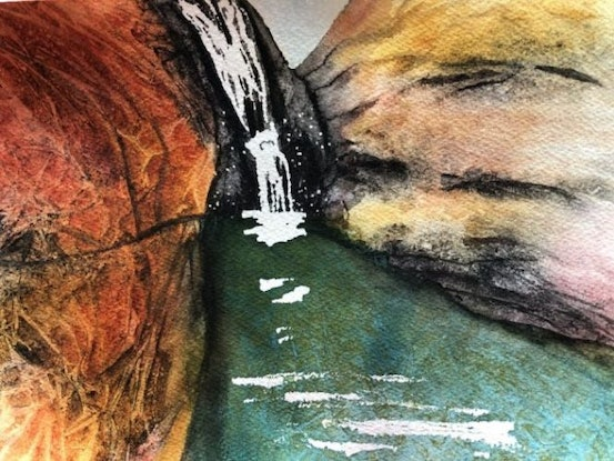 (CreativeWork) NT Waterfall by Veronica Hodges. Watercolour Paint. Shop online at Bluethumb.