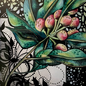 (CreativeWork) Native Berries in Pinks by Tania Daymond. #<Filter:0x00007fc18a641e70>. Shop online at Bluethumb.