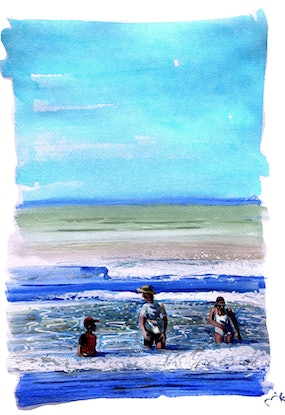(CreativeWork) Middleton bathers by Mike McMeekan. Watercolour Paint. Shop online at Bluethumb.