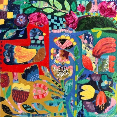 (CreativeWork) Fiesta by Sandra Oost. Acrylic Paint. Shop online at Bluethumb.