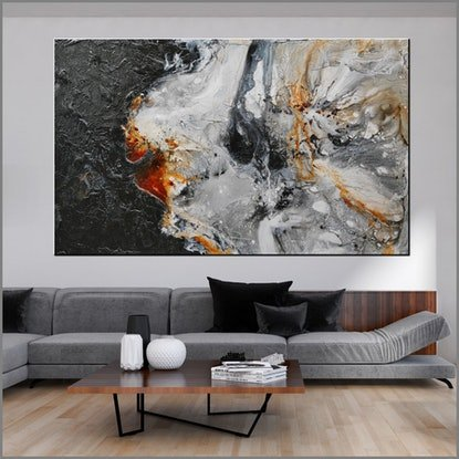 (CreativeWork) Giant Slate 250cm x 150cm HUGE Rust Ochre Oxide Black Textured Acrylic Abstract Gloss Finish FRANKO by _Franko _. Acrylic Paint. Shop online at Bluethumb.