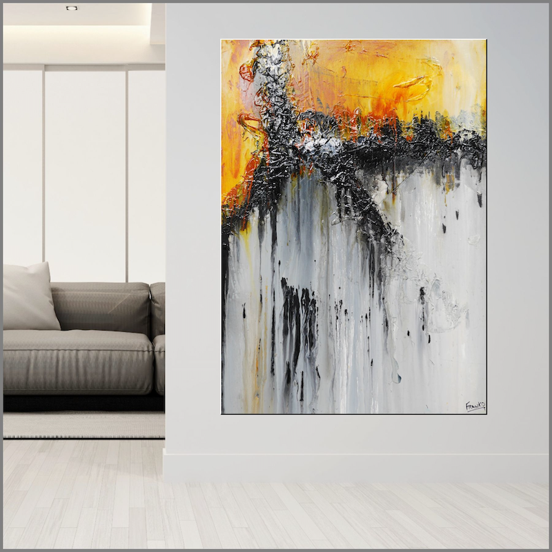 (CreativeWork) Burnt Sienna 140cm x 100cm  Sienna Yellow Grey Abstract Texture Acrylic Gloss Finish  by _Franko _. Acrylic Paint. Shop online at Bluethumb.