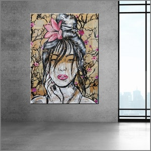 (CreativeWork) Golden 75cm x 100cm Memoirs of a Geisha pages on Canvas No further framing needed  by _Franko _. Acrylic Paint. Shop online at Bluethumb.