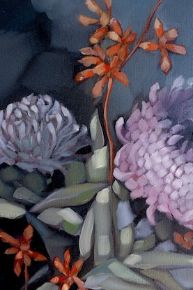 (CreativeWork) Moody Blooms by Sam Suttie. Oil Paint. Shop online at Bluethumb.