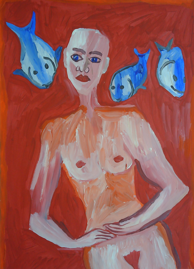 (CreativeWork) GODDESS OF THE FISHES. by Paula Reilly. Acrylic Paint. Shop online at Bluethumb.