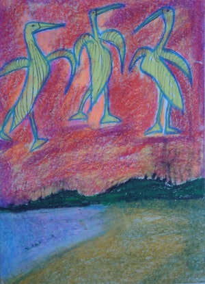 (CreativeWork) PELICANS OF THE SKIES. by Paula Reilly. Drawings. Shop online at Bluethumb.