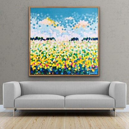 (CreativeWork) Sunflowers 122x122 framed large textured abstract on linen by Sophie Lawrence. Acrylic Paint. Shop online at Bluethumb.