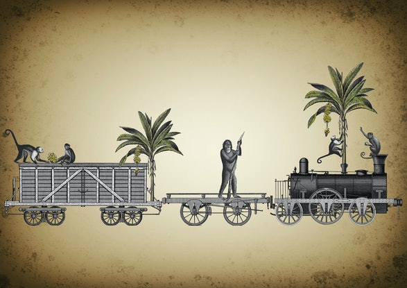 (CreativeWork) The Banana Train. 1/10. by Sarah Mitchell. Other Media. Shop online at Bluethumb.
