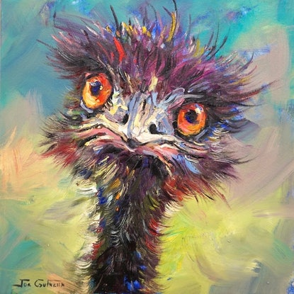 (CreativeWork) Emu by Jos Coufreur. Acrylic Paint. Shop online at Bluethumb.