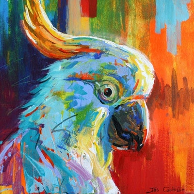 (CreativeWork) Cockatoo by Jos Coufreur. Acrylic Paint. Shop online at Bluethumb.